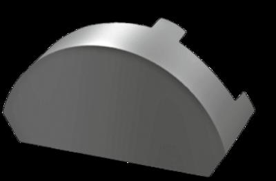 Hřebenová ucpcávka 90 x 150 mm v RAL, Hřebenová ucpcávka 90 x 150 mm v RAL 9007