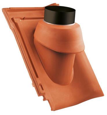 Prostupová taška pro odvod spalin Ø 125 mm, včetně podstřešní průchodky, Přírodní červená - 1