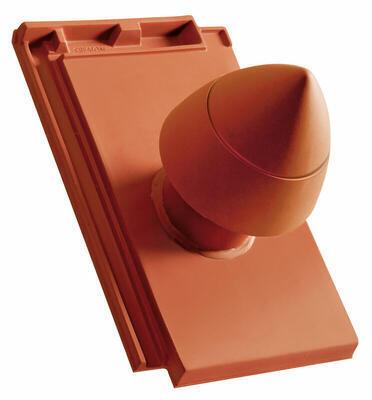 """Sanitární prostupová taška Ø 100 mm """"SIGNUM"""" s flex. připojovací hadicí včetně podstřešní průchodky, Přírodní červená - 1"""