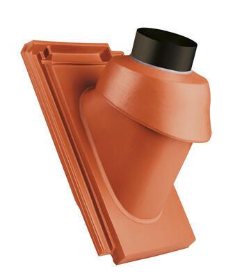 Prostupová taška pro odvod spalin Ø 125 mm včetně podstřešní průchodky, Přírodní červená - 1