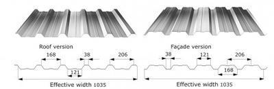 Trapézový profil T - 35 ECO FeZn tl.0,5mm, Trapézový profil T - 35 FeZn tl.0,8mm