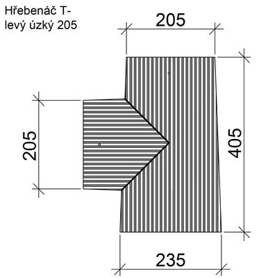 Hřebenáč rozdělovací T levý úzký BETONPRES ECONOMIC, cihlový úzký levý - 2