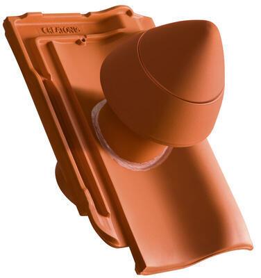 """Sanitární prostupová taška Ø 100 mm """"SIGNUM"""" s flex. připojovací hadicí včetně podstřešní průchodky, Přírodní červená - 2"""