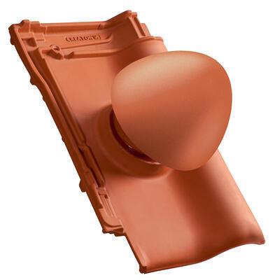 """Sanitární prostupová taška Ø 150 mm """"SIGNUM"""" s flex. připojovací hadicí včetně podstřešní průchodky, NUANCE měděně červená engoba - 2"""