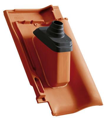 Anténní prostupová taška Ø 60 mm s pryžovou manžetou včetně podstřešní průchodky, Přírodní červená - 2