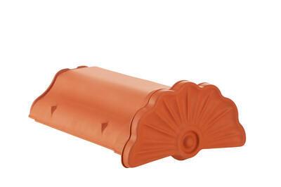 Koncový hřebenáč ve tvaru mušle PT, NUANCE měděně červená engoba - 2