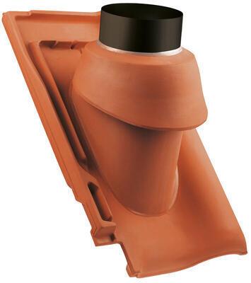 Prostupová taška pro odvod spalin Ø 125 mm včetně podstřešní průchodky, Přírodní červená - 2