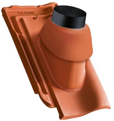 Prostupová taška pro odvod spalin Ø 110 mm včetně podstřešní průchodky, Přírodní červená - 2